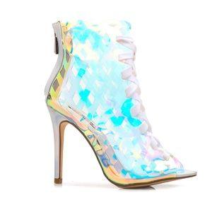 Fashion nova iridescent bootie heels nib
